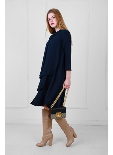 JEANNE D'ARC Truvakar Kol Önden Düğmeli Salaşe Elbise  Lacivert
